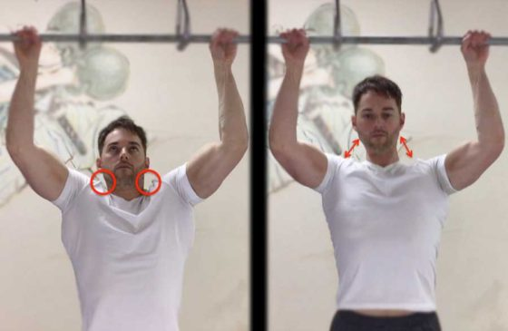 Keep your shoulders down during pull-ups